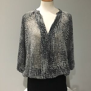 a.n.a. Sheer Blouse Gray & Black Animal Print